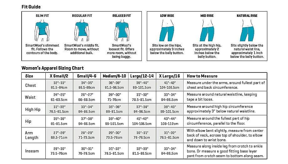 Smartwool Women's Apparel Size Chart