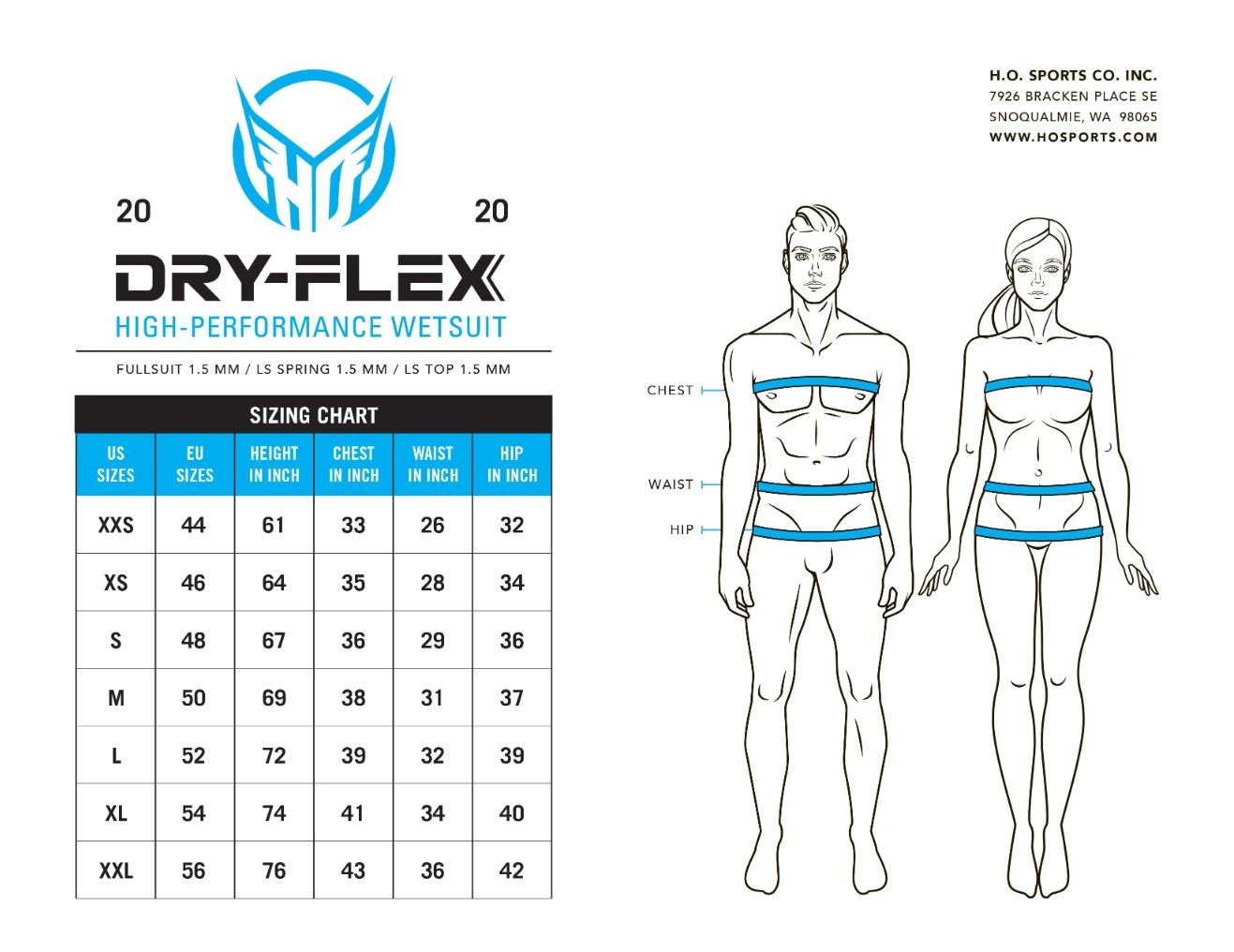 HO Syndicate Spring Wetsuit Size Chart