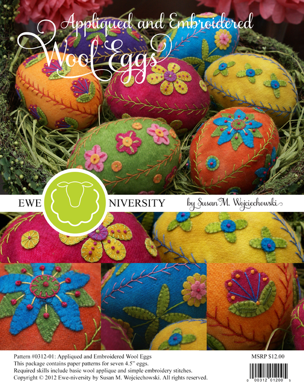 Appliqued and Embroidered Wool Eggs