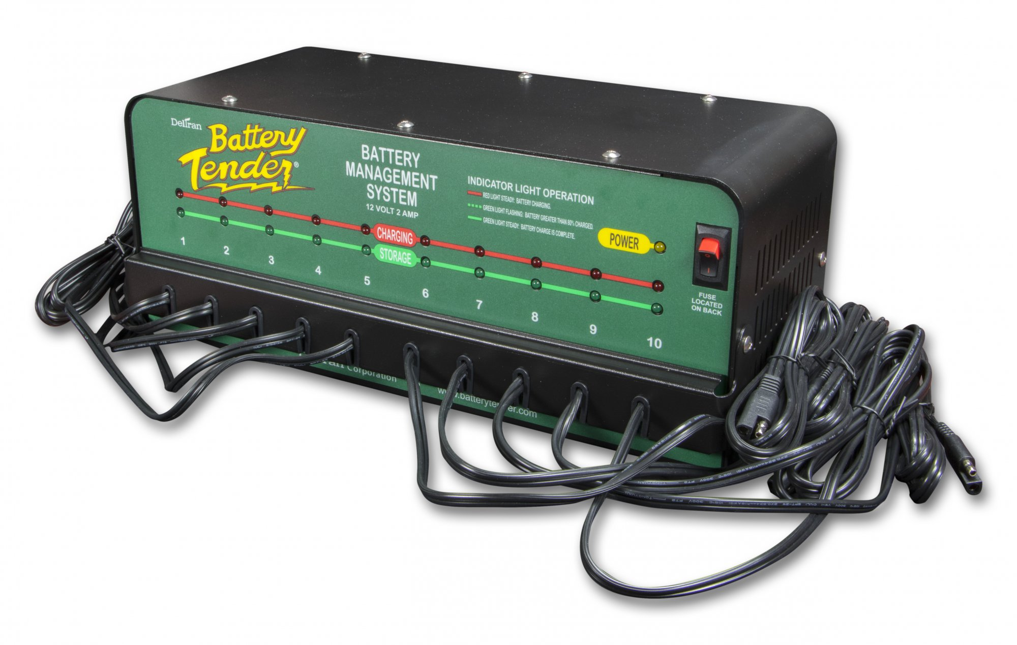 10-Bank Power Pac Charger w/ 10 6ft ext'n cables