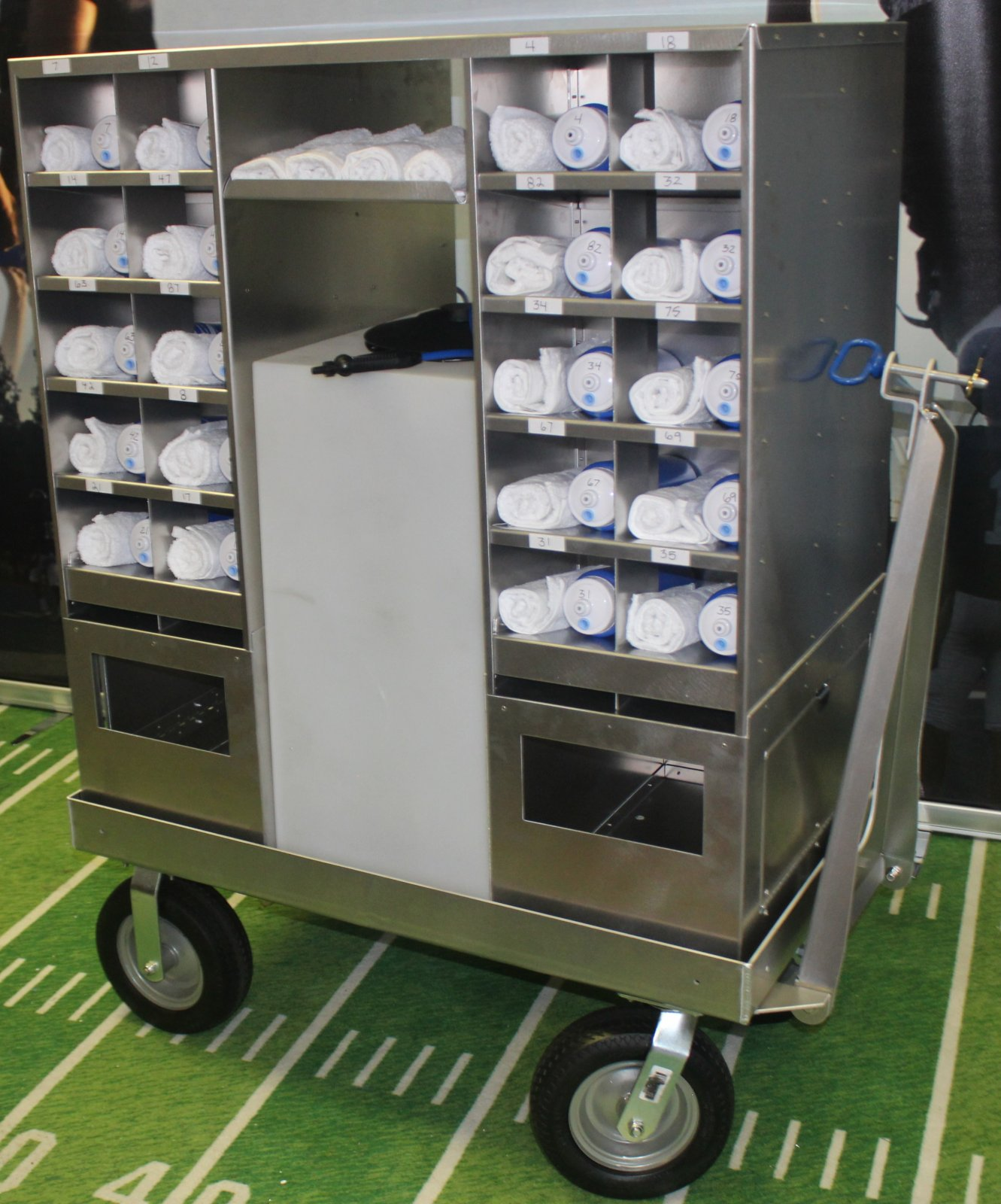 Cubby Cart w/ 40 cubbies, 2 soiled towel bins & on-board water and pump