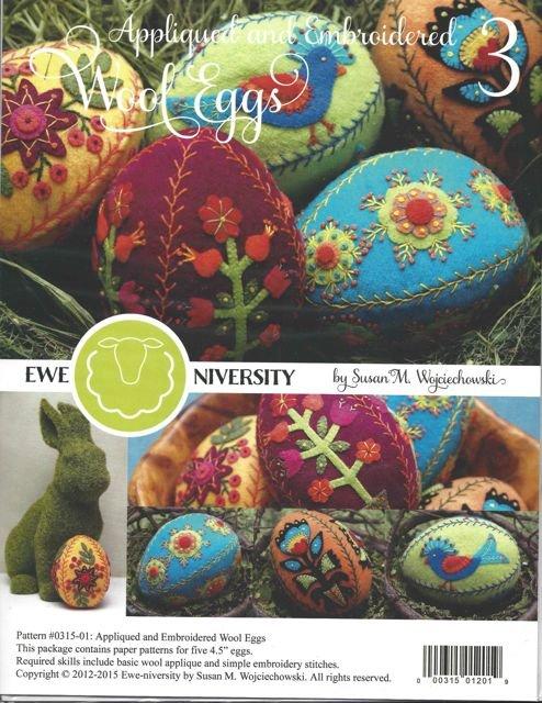 Ewe-Niversity Wool Applique Eggs #3 Pattern