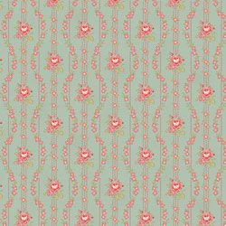 Love & Liberty Pink Floral Stripe on Teal