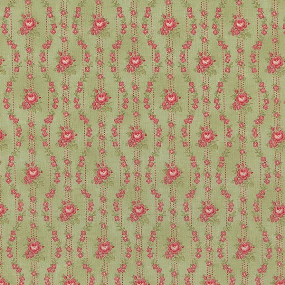 Love & Liberty Pink Floral Stripe on Green