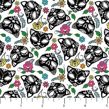 Nine Lives black cat skulls on white