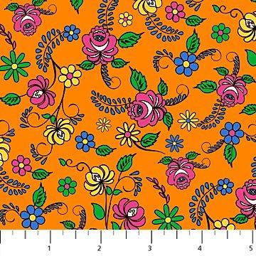 *Nine Lives floral on orange