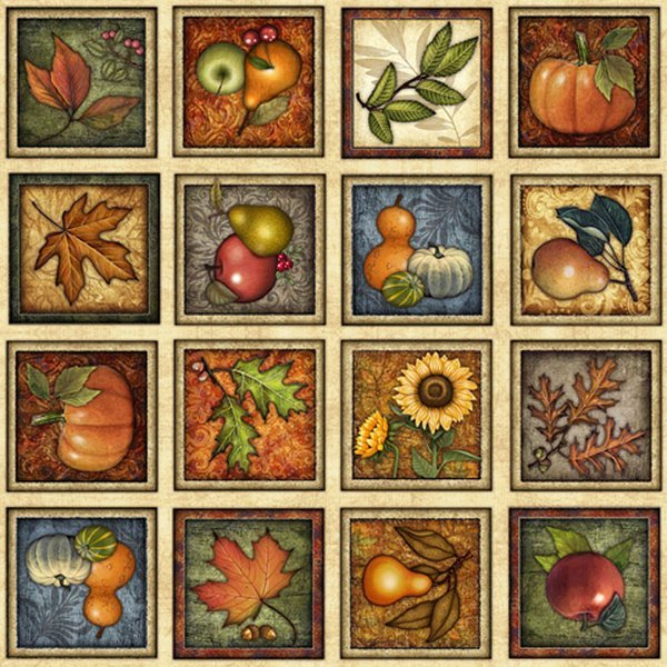 *Shades of Autumn Panel fruit and leaf squares