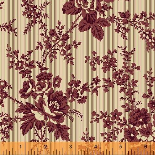First Ladies Burgundy and Cream Floral Stripe