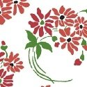 Hazel Small Red and Pink Flowers on White