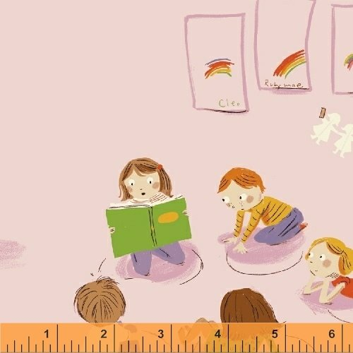 *Kinder kids on light pink by Heather Ross