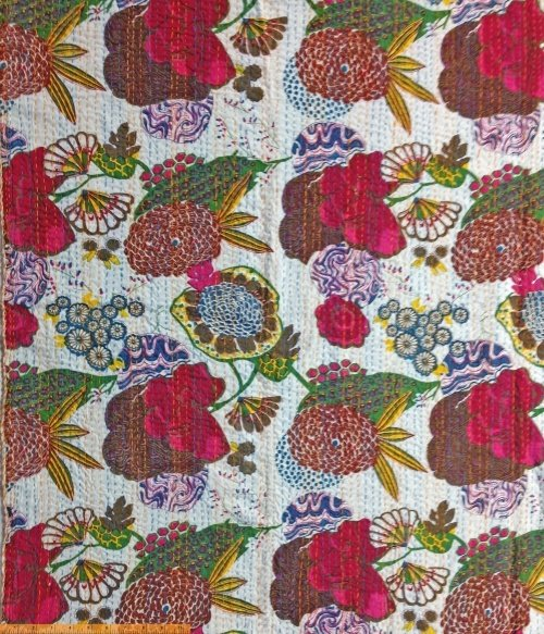 *Kantha large floral on white with blue and orange big stitch