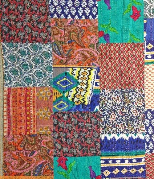 *Kantha large patchwork with orange and blue big stitch