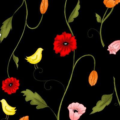 Poppy Patio multicolored flowers on black