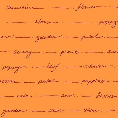 Poppy Patio orange words on orange