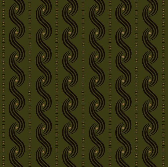 Katie's Cupboard Small Star & Swirly Stripe on Green