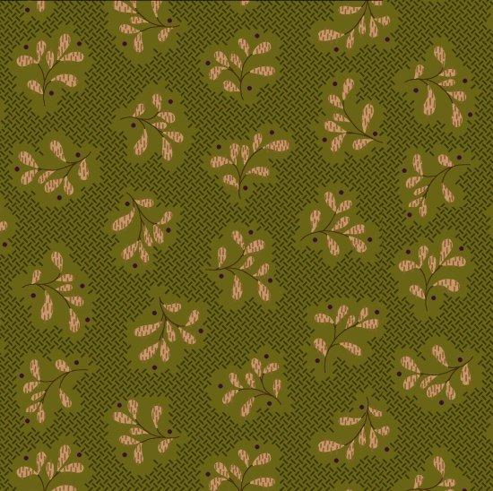 Katie's Cupboard Tan Leaf Clusters on Green