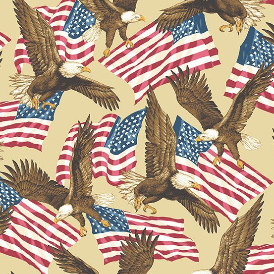 Patriotic Eagles and Flags on tan