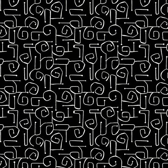Composition Cream on Black Print