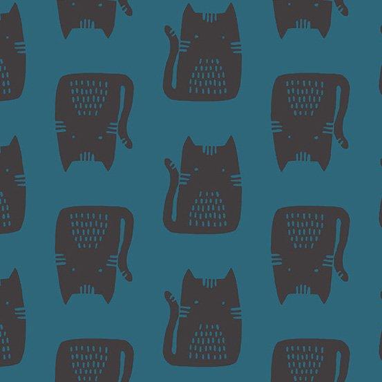 *Maker Maker black cats on blue linen
