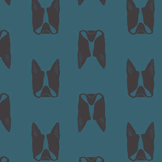 *Maker Maker black dog heads on blue linen