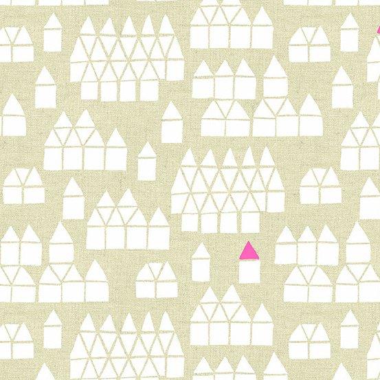 *Maker Maker white houses on tan linen