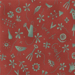 Love To Garden turquoise garden tools on red