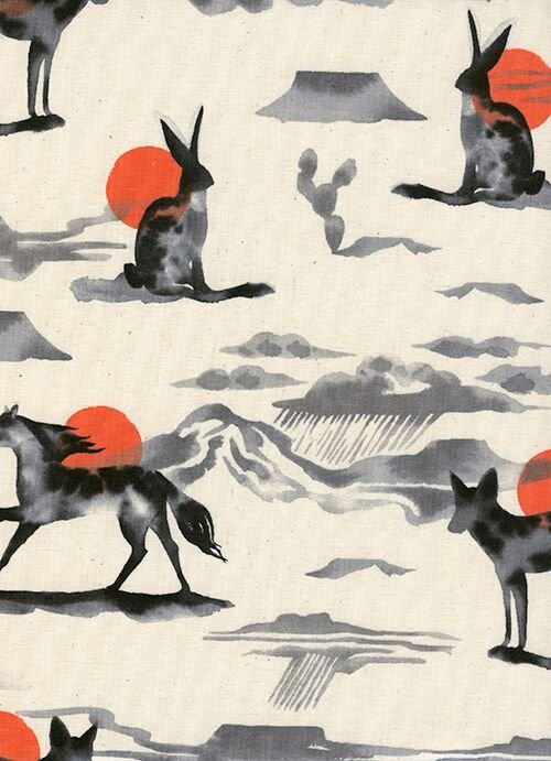 *Santa Fe Mirage black ink animals and red sunsets on natural