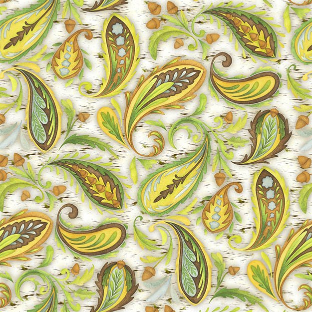Hedgehugs green and brown paisley