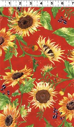 Autumn Splendor sunflowers on red