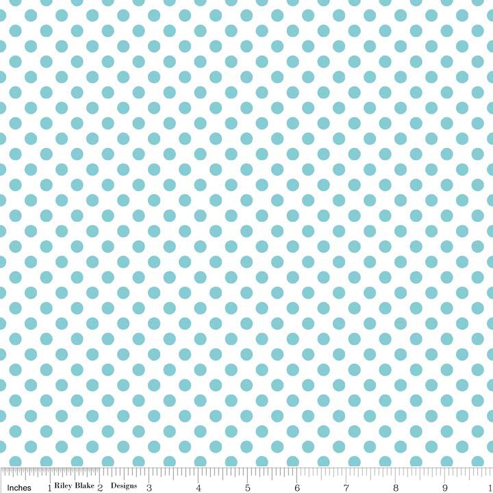 Cotton Dots Small aqua dots on white