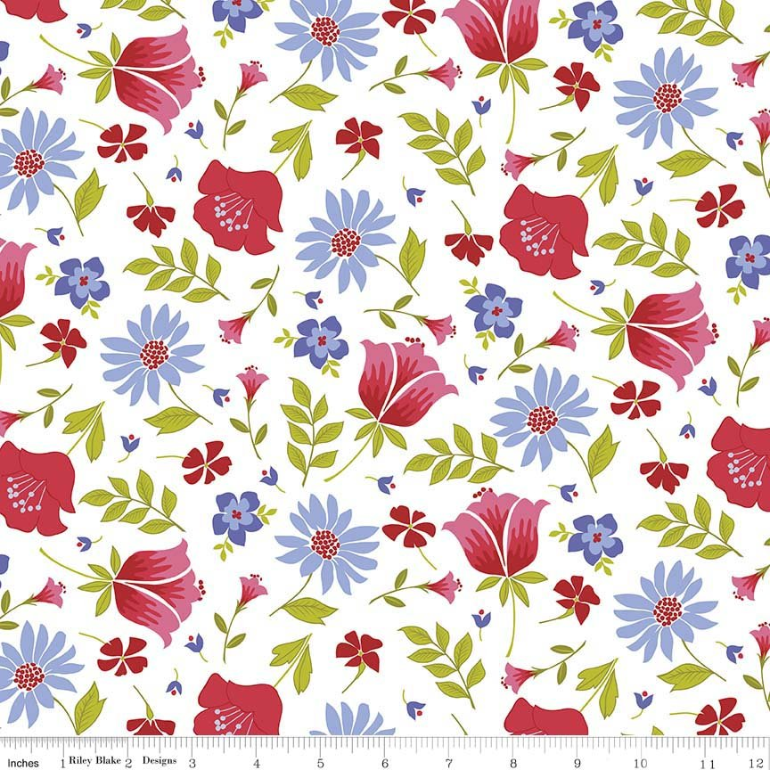 Meadow Sweets Large Red & Blue Floral on White