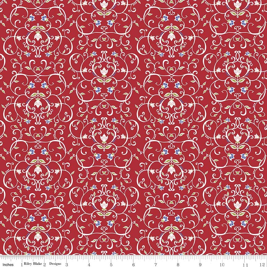 Meadow Sweets White Scroll with Tiny Blue Flowers on Red