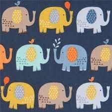 Baby Jungle Elephants on Navy