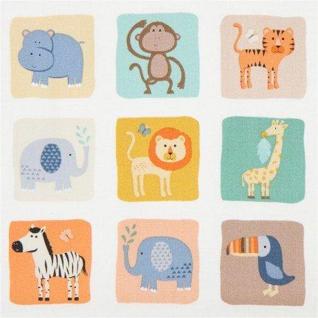 Baby Jungle Animals in Squares on Cream