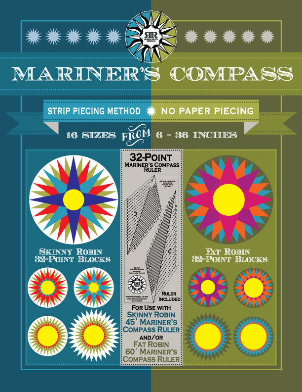 32 Point Mariner's Compass Ruler by Robin Ruth
