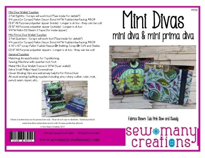 Mini Diva & Mini Prima Diva Wallet Pattern