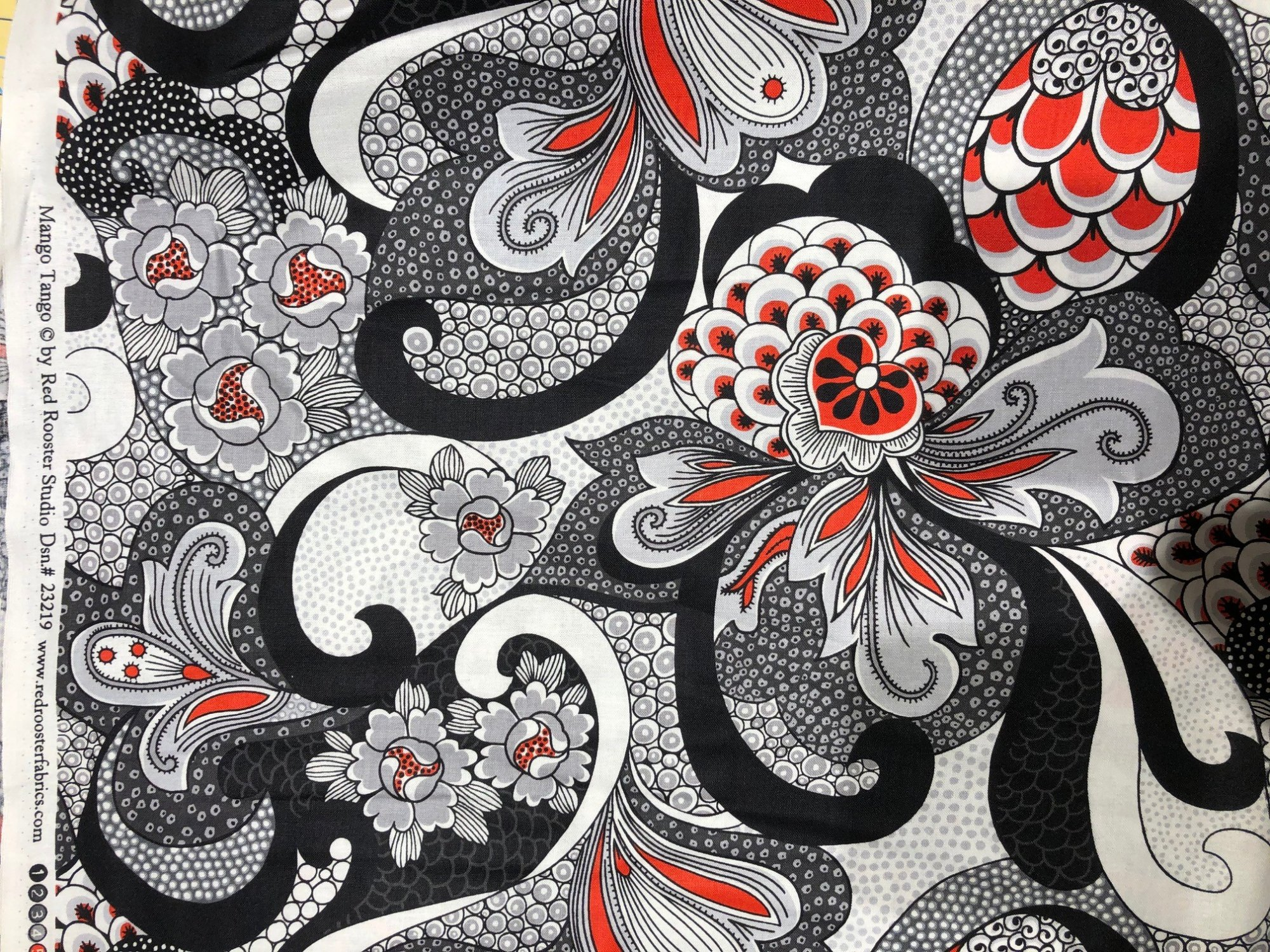 *Mango Tango large black white and red floral