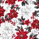 *Poised Poinsettia Ice/Silver red and white poinsettias on white