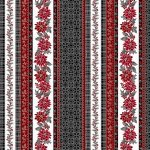*Poised Poinsettia Charcoal/Silver large poinsettia stripe