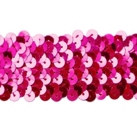2 Row Hologram Stretch Sequin Trim Fuschia
