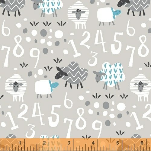 Bah Bah Baby Lambs and Numbers Grey
