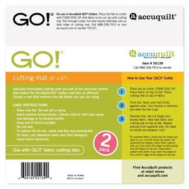 Accuquilt GO! 55139, Cutting Mat 6x6 (2pk)