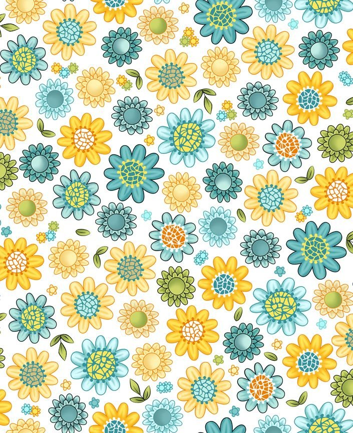 Blossom Flowers Blue  and yellow on cream
