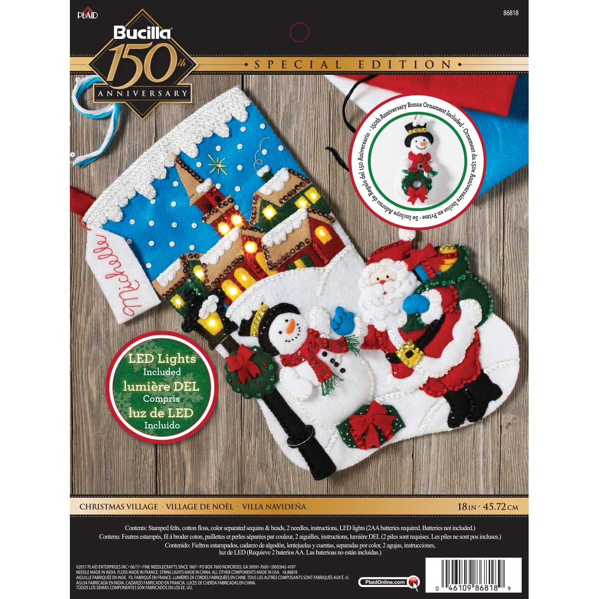 Bucilla Christmas Village Stocking Kit