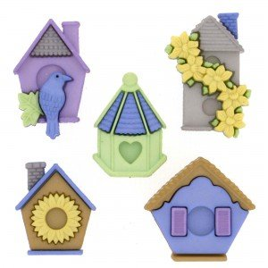 Nature Collection: Feather Nest, Bird House Buttons