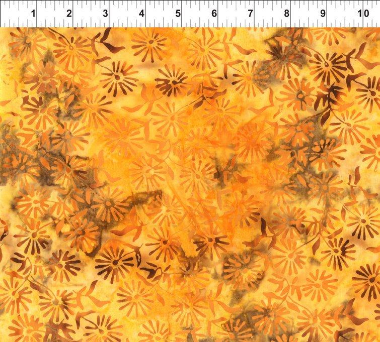 Floragraphix Batiks IV Daisy Yellow Brown