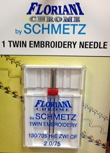 Floriani Chrome Twin Embroidery Needles 2.0/75