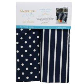 Kimberbell Dots & Stripes Tea Towels Navy