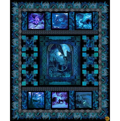 Dragon  Fury  - Quilt Kit for Blue