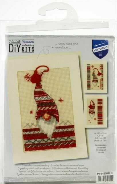 3 Christmas Gnome Cross-stitch Cars and Envelopes